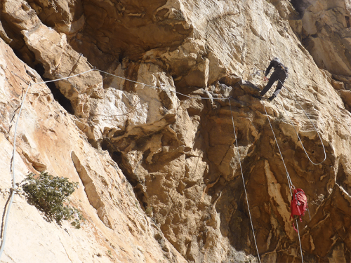 El Caminito del Rey Zeppelin Climbing first roof pitch